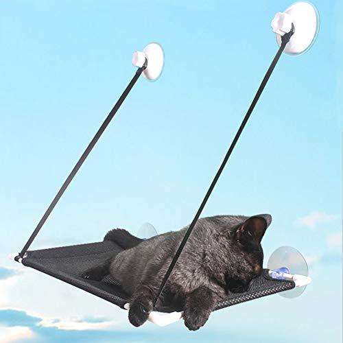 IBLUELOVER - Amaca a forma di gatto con ventose, per il bagno di sole, in rete traspirante, per animali domestici, con 4 ventose resistenti, può contenere fino a 10 kg