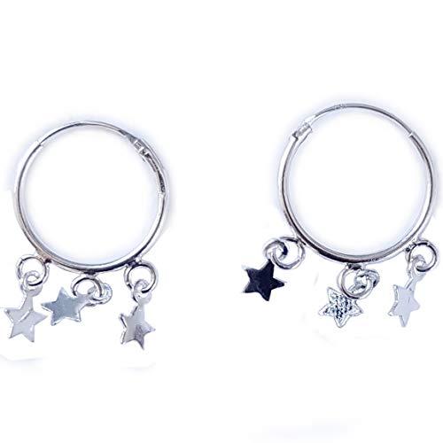 AKIEE Pendientes Aros de Plata de ley 925 Con Estrellas lunas para mujer (Estrellas)