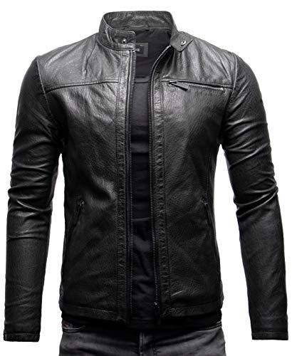 Crone Epic Herren Lederjacke Cleane Basic Leder Jacke in vielen Varianten und Farben (L, Schwarz (Neuseeland Schafsleder))