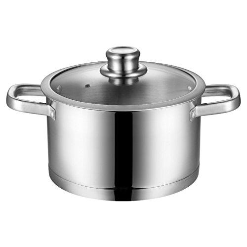 304 en Acier Inoxydable Pot 24 cm épais Double Fond Pot Grande Casserole Casserole Pot Universel QIQIDEDIAN