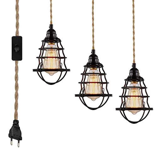 Suspension DIY avec corde de chanvre, câble textile, lampe suspendue E27 avec interrupteur et fiche, lampe rétro 9 mètres de câble, lampe pour table à manger, salon, chambre à...