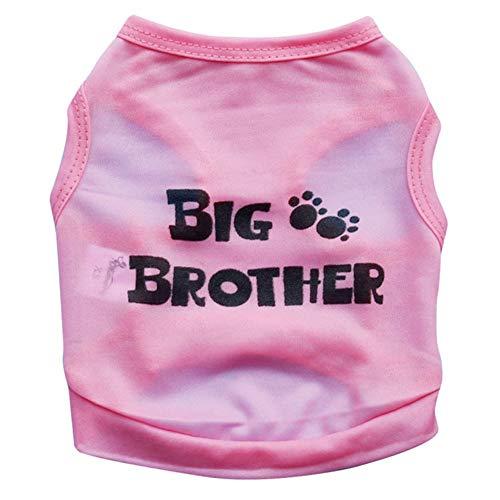 DRT huisdier kat hond kleding polyester grote broer huisdier kleine hond Vest zacht en comfortabel voor lente en zomer, XS, roze