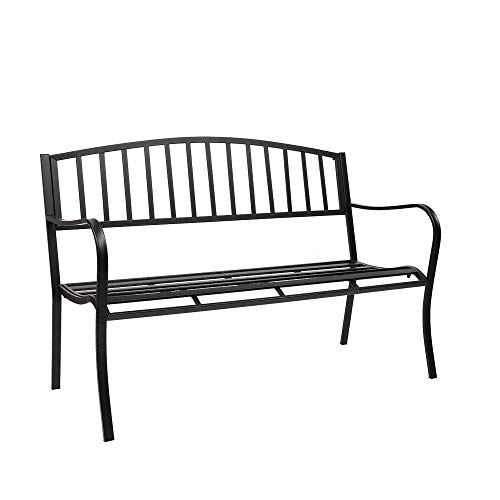 """VINGLI 51"""" Patio Outdoor Metal Bench, Cast Iron Steel Frame Chair Front Porch Path Yard Lawn Decor Deck Furniture for 2-3 Person Seat"""