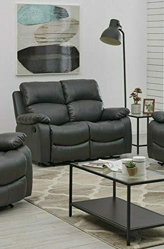 Bravich LUXURY Grey Gray Bonded Leather Recliner 2 Seater Reciling Sofa Settee Couch Lounge Home Lounge Armrest Footrest (148x93x97cm)