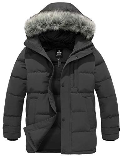 Wantdo Men's Winter Fur Mid-Long Hooded Down Jacket Thicken Padded Coat Dark Grey S