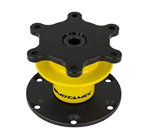 Motamec FIA Quick Release Steering Wheel Boss 6 Bolt On 70mm PCD - Black Yellow