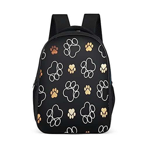 Mochila impermeable con diseño de pata de perro para niños, adolescentes, estudiantes para acampar casual