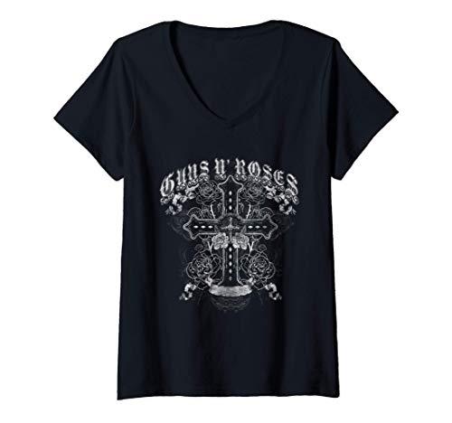 Womens Guns N' Roses Offici0al Vintage White Cross V-Neck T-Shirt, S to 2XL