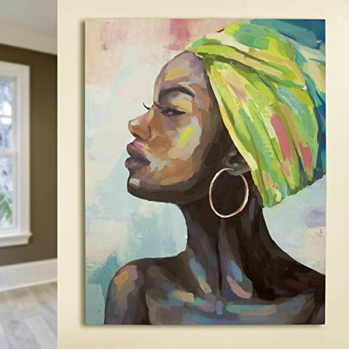 Soma Gilde Bild Gemälde Makeda (BxHxT) 90 x 115 x 2,8 cm Mehrfarbig, grüner Turban, auf Leinwand