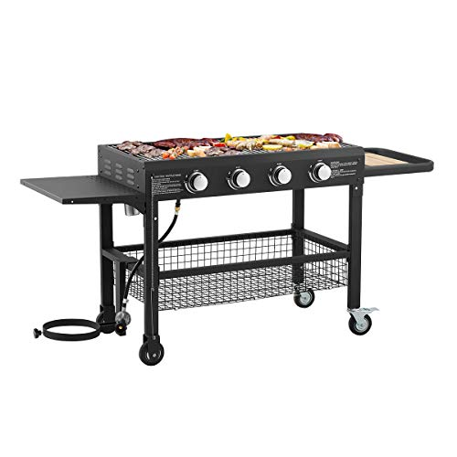 U-MAX Propane Gas BBQ 4 Burners Outdoor Grill Flat Top Barbecue Cooking Station Steel Mesh Basket and Grease Cleaning System Black Grills Propane