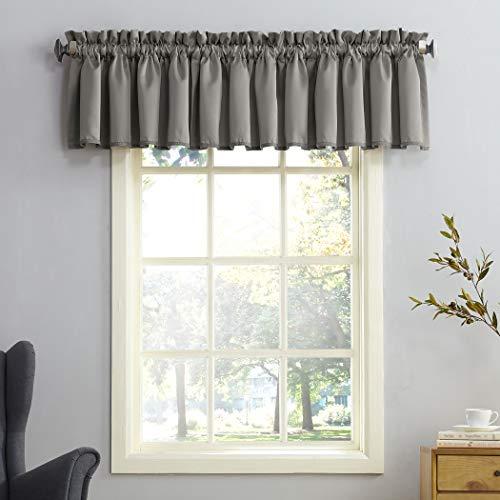 "Sun Zero Barrow Energy Efficient Rod Pocket Curtain Valance, 54"" x 18"", Steel Gray"