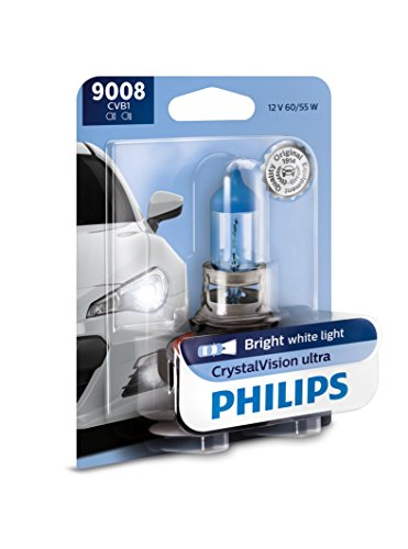 Philips 9008 CrystalVision Ultra Upgrade Bright White Headlight Bulb, 1 Pack