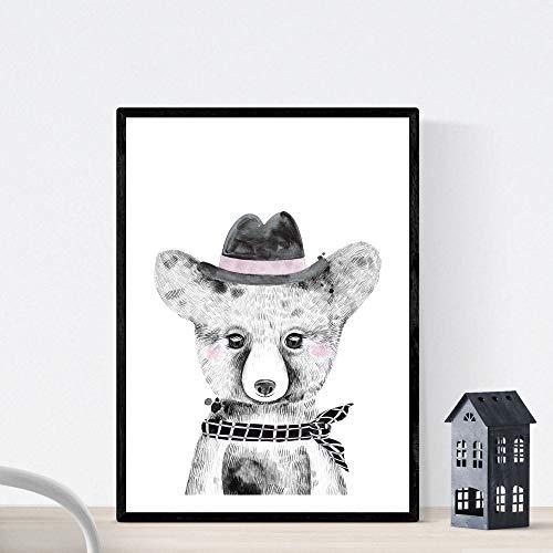 Kinderfilm baby beer met muts en sjaal kinderen dieren poster formaat A3 Frameloos
