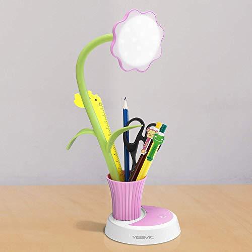 Led Schreibtischlampe mit Stifthalter, YISSVIC 3W LED Tischlampe Stufenlos Dimmbare Tischleuchte mit Touchsensor USB-Anschluss Verpackung MEHRWEG