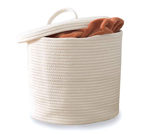 Cotton Rope Storage Basket- Large Woven Baskets with Lid and Handles 15' x 13' | for Nursery, Laundry, White Round Hamper, Home Living Room Floor, Toy Organizing bins, Blanket, Pillow and Big