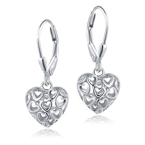 S925 Sterling Silver Heart Round Dangle Drop Leverback Cage Filigree Celtic Earrings for Women