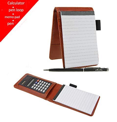 Deluxe-Notizbuch mit Taschenrechner, A7 Tasche, Notizbuch, Organizer, liniert, Notizblock-Halter, Business Schreibblock, 8,9 x 14 cm, 30 Blatt, liniert, mit Stift one size braun