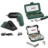Bosch Atornillador a Batería IXO Set, 6.a Generación, Recargable con su Estación de Carga o Cable Micro-USB + Set de 46 unidades para atornillar + Set de 26 unidades para atornillar y llave de carraca