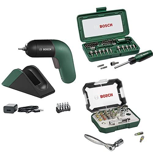 Bosch Atornillador a Batería IXO Set, 6.a Generación, Recargable con su Estación de Carga o Cable Micro-USB + Set de 46...
