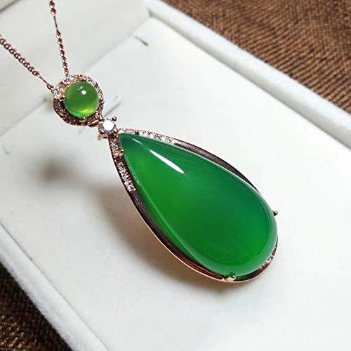 Natuurlijke Roze Chalcedoon Ketting S925 Zilver Ingelegde Water Drop Jade Hanger Edelsteen Clavicle Ketting Geschikt Voor Geschenken Voor Mama,Green