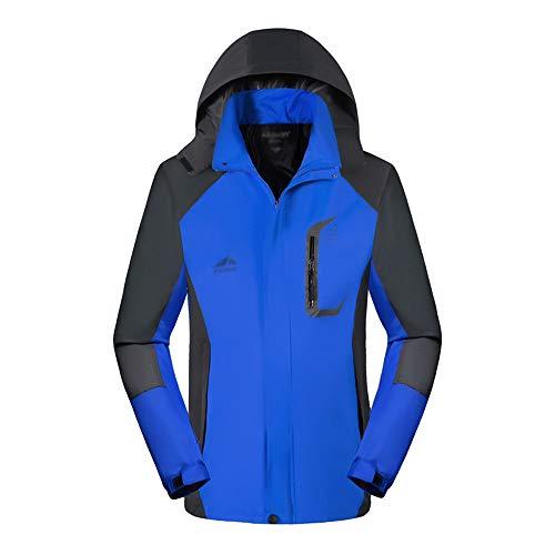 KINDOYO Veste D'extérieur pour Hommes - Imperméable Respirant Mode Loisirs Imperméable Montagne Marche Randonnée Vêtement Manteau, Bleu, EU 3XL=Tag 4XL