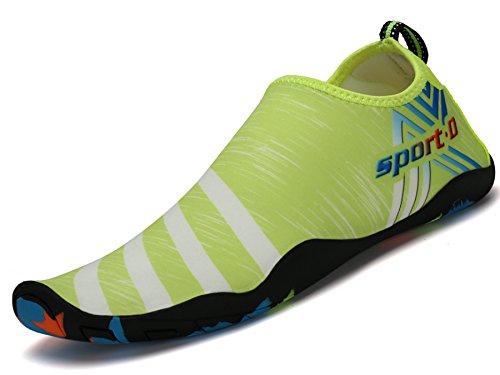 Saguaro Zapatos de Agua Zapatillas de Playa Verano Barefoot Escarpines Antideslizante Calzado de Surf para Hombre Mujer,Raya Verde 45