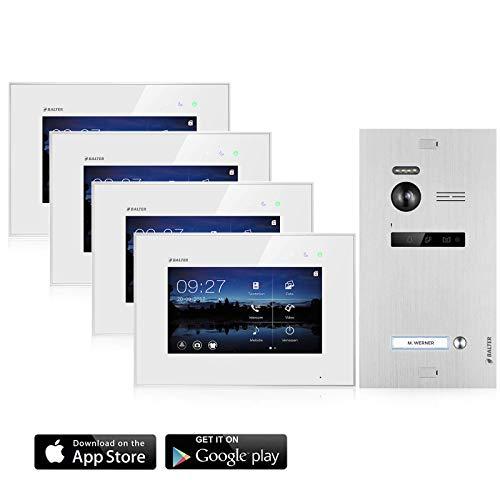 BALTER EVO Video Türsprechanlage ✓ Touchscreen 4x 7 Zoll Monitor ✓ Smartphone App ✓ 2-Draht BUS ✓ Türstation für 1 Familienhaus ✓ 1 Türklingel ✓ 150° Weitwinkel-Kamera