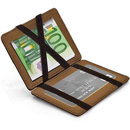 MUCO Herren Schlanke Brieftasche mit Geldklammer Kreditkartenhalter Bifold Brieftasche Magic Wallet Magischer Geldbeutel Geschenk Flap Boy Slim