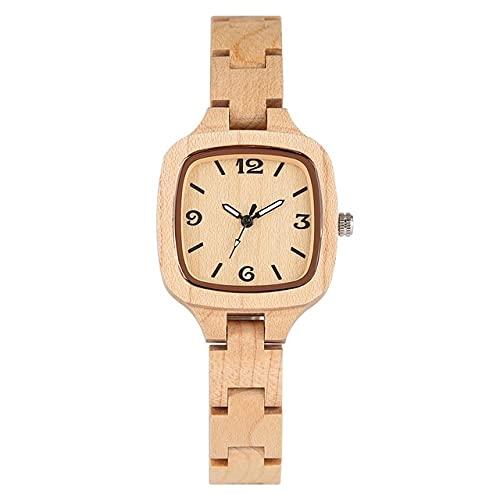 KUELXV Reloj de Pulsera de Madera Reloj de Madera Cuadrado Simple Minimalista para Mujer, Reloj Delgado, Ultra analógico, Brazalete de Madera de bambú Completo, Relojes para Mujer, Madera de bambú