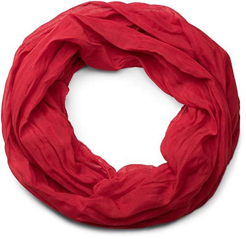 styleBREAKER légère couleur solide tube de boucle écharpe, soyeux, unisexe 01016076, couleur:rouge