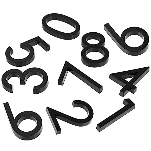 Yardwe 10 números de buzón autoadhesivos para puerta, números de casa, números de dirección de calle, para residencia, apartamento, oficina, sala de correo, señales de 0 a 9 (negro)