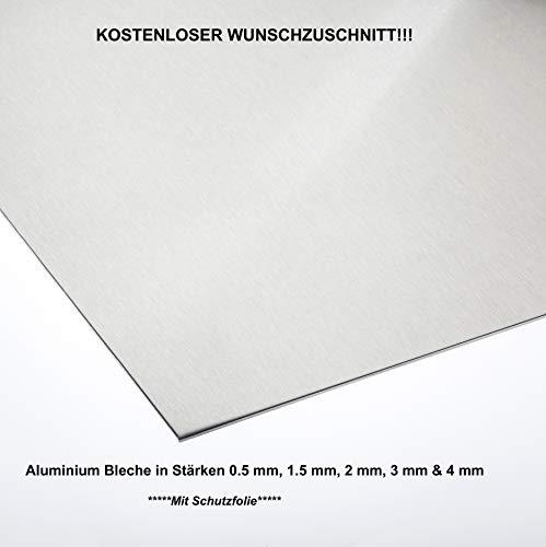 Alublech 0,5 mm 1 mm 1,5 mm 2 mm 3 mm 4 mm Aluminiumblech ALMg3 Zuschnitt inkl Folie, Größe nach Maß Alu Neu (500 mm x 600 mm, Alu 3,0 mm dick)