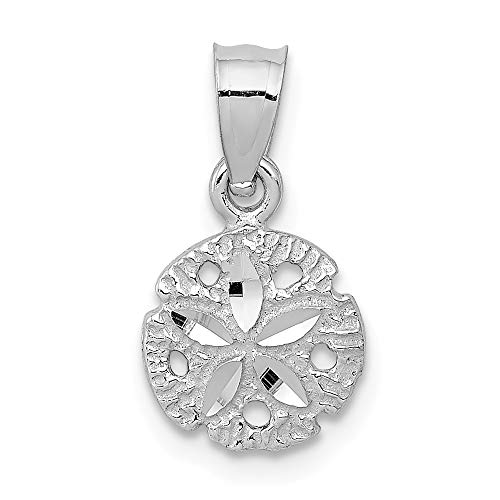 14k White Gold Sand Dollar Sea Star Starfish Pendant Charm Necklace Seashore Seashell Fine Jewelry For Women Gifts For Her