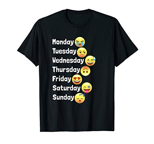Funny Emoji Faces Days of the Week Shirt for Kids & Adults