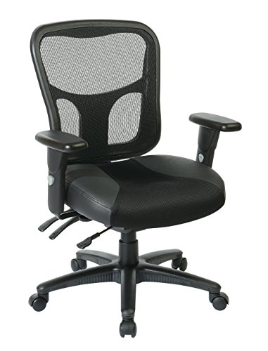 Office Star Breathable ProGrid Back with Leather and Mesh Seat...
