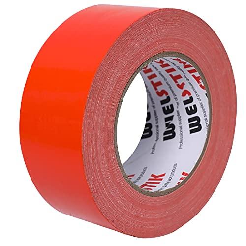 WELSTIK Ruban adhésif de qualité professionnelle, ruban adhésif coloré pour réparation, bricolage, travaux manuels, utilisation en intérieur et extérieur, 50 mm x 41 m, 7,5 mm d'épaisseur, Orange