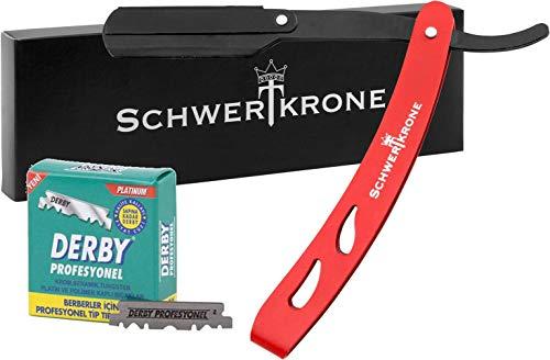 Schwertkrone Rasiermesser Edelstahl schwarz/rot | Wechselklingen mit Derby Premium Rasierklingen Rasier-Set