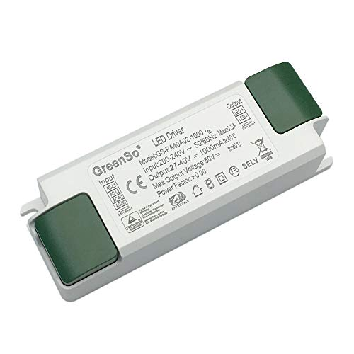 GreenSo 40W Controlador LED Fuente de Alimentación 27-40Vdc 1000mA Corriente Constante, Transformador para Techo Empotrado Luces de Panel LED Planas 60x60, 120x30cm, GS-PA40A02-1000, TUV SAA CE CB