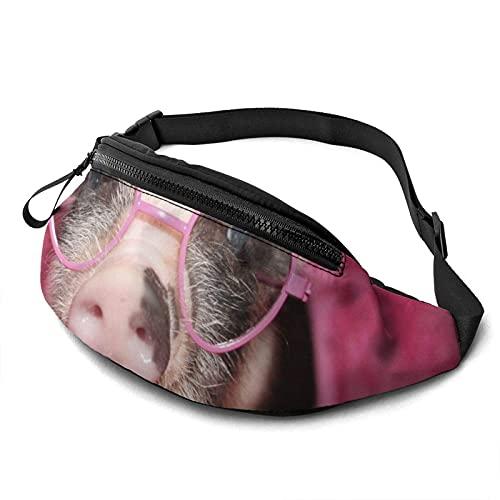DJNGN Riñonera Casual para Hombres, Mujeres, Little Pig Wear, riñonera con Estampado de Gafas de Sol Rosa, riñonera con Conector para Auriculares.