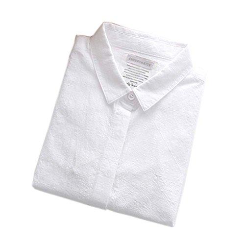 George Jimmy Cotton Long Sleeve Shirt Leisure Women's Blouses(Stype10) White
