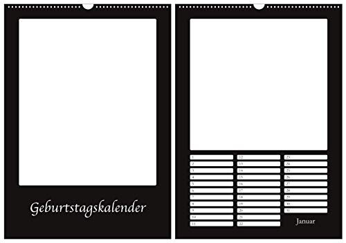 Geburtstagskalender Bastelkalender in DIN A2 - Wandkalender immerwährend/jahresunabhängig - Hochformat - Kreativkalender Fotokalender DIY Do-it-yourself - XXL - schwarz