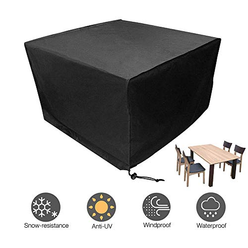 Gobesty Garden Furniture Covers, Waterproof Rattan Furniture Covers Cube Outdoor Furniture Cover Oxford Fabric Large Patio Set Cover, 123 * 123 * 74CM, Black