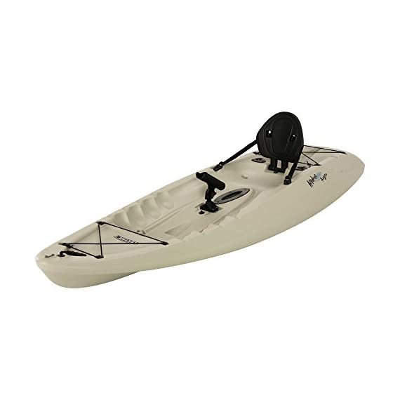 """Lifetime hydros angler kayak with paddle, sandstone, 101"""" 5 lightweight design. Multiple footrest positions for different size riders. Molded-in swim-up deck combination tunnel hull design provides great stability and tracking. Center carry handle for easy transport to waterfront front and rear shock cord straps. Front t-handle for easy transport"""
