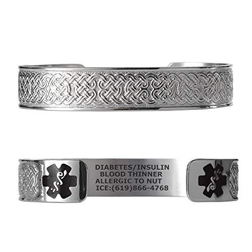 Divoti Custom Engraved Medical Alert Bracelets for Women, Stainless Steel Medical Bracelet, Medical ID Bracelet w/Free Engraving – Celtic Knot w/ 6' Cuff (fits 6.5-8.0') - Black
