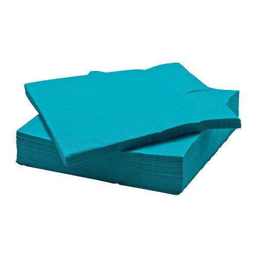 IKEA FANTASTISK - Serviette en papier, turquoise / 50 pack / Paquet de 50 - 40x40 cm