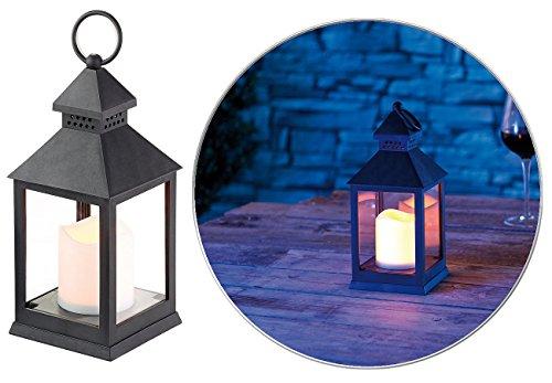 Lunartec Grablaterne: Laterne mit flackernder LED-Kerze und Timer, Batteriebetrieb, schwarz (LED Grablaterne mit Timer)