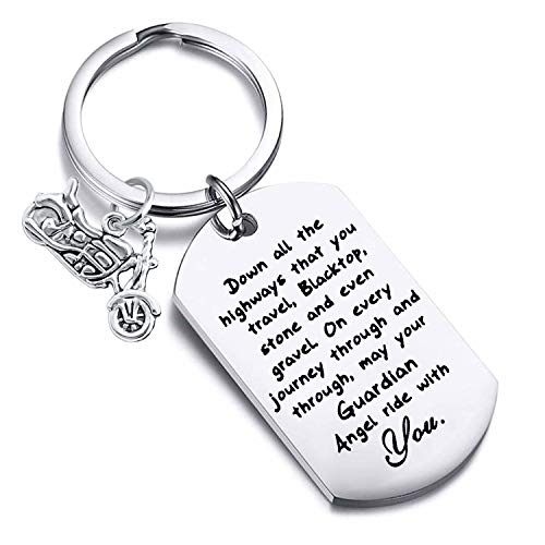 FUSTMW Car Gift Drive Safe Keychain May Your Guardian Angel Ride with You Car Lover Gift (Biker)