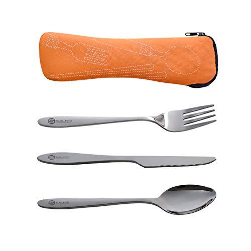 SUBLIMED 3-teiliges Besteck-Set aus Edelstahl für Camping, Messer, Gabel, Löffel, mit Neopren-Etui, Lunchbox und Reisebesteck, Orange
