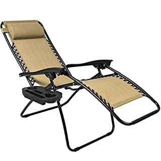 Best Choice Products Set of 2 Adjustable Zero Gravity Lounge Chair Recliners for Patio, Pool w/Cup Holders - Beige للبيع