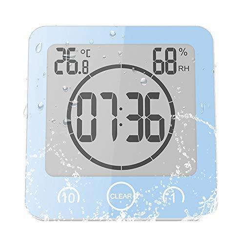 ALLOMN Badezimmer Uhr, LCD Digital Dusche Wecker wasserdichte Berührungssteuerung ℃ / ℉ Temperatur Luftfeuchtigkeit, Countdown Timer, 3 Montagemethoden, Batterieleistung (Blau)